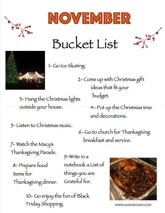 NOVEMBER Bucket List -picture